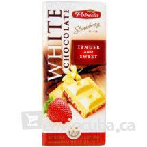 100 g-Tableta de chocolate blanco con fresa